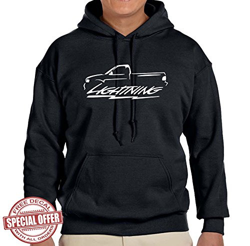 1999-04 Ford SVT Lightning F150 Truck Classic Outline Design Hoodie SweatshirtXL black (2000 Svt Lightning compare prices)