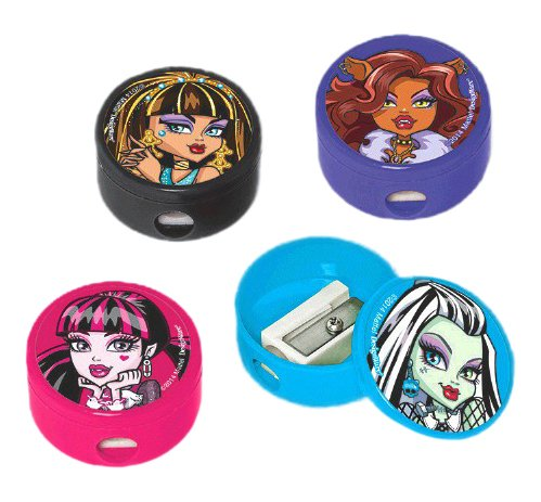 Amscan Freaky Fab Monster High Round Pencil Sharpener (1 Piece), Black/Hot Pink/Purple/Blue, 1""