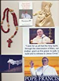 """Pope Francis Blessed Rosary on 3/14/2013 at 1st Mass Given by Him at Vatican's Sistine Chapel also Includes Photographs of Mass & Photos of the Conclave the Day Before 10""""L w/Wooden Beads + Holy Card"""