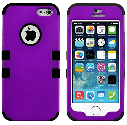 Mylife Black And Plum Purple - Colorful Robot Series (Neo Hypergrip Flex Gel) 3 Piece Case For Iphone 5/5S (5G) 5Th Generation Smartphone By Apple (External 2 Piece Fitted On Hard Rubberized Plates + Internal Soft Silicone Easy Grip Bumper Gel)