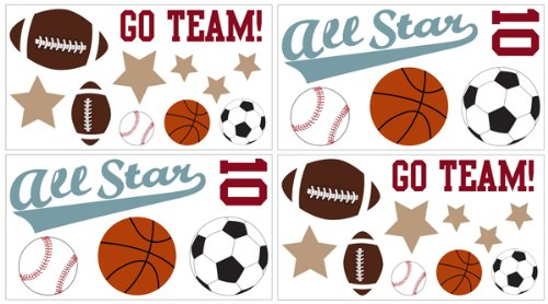 All Star Sports Wall Decal Stickers by Sweet Jojo Designs – Set of 4 Sheets