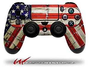 Painted Faded and Cracked USA American Flag - Decal Style Wrap Skin fits Sony PS4 Dualshock Controller
