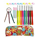 Crochet Hook Set,Ergonomic Grip Crochet Hooks Kit,With Crochet Hook Case Organizer,Comfort Grip Crochet Needles,Yarn Needles,Stitch Markers,Key Chain Crochet Hooks & More!