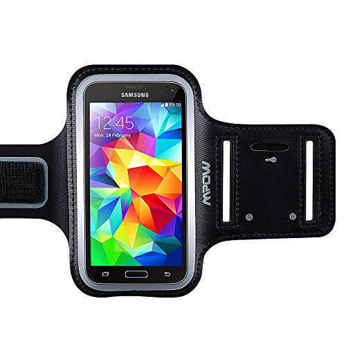 Mpow® Running Sport Sweatproof Armband + Key Holder for Samsung Galaxy S5, with Adjustable size, Safey design, Suitable for Biking, Hiking, Canoeing, Walking, Horseback Riding, Gardening, Golfing, Shopping, Rollerblading, Downhill & Nordic Skiing, Housework
