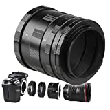 eForCity Macro Extension Tube Set Compatible with Canon EOS EF Camera (3 Tubes & 2 Adapters)