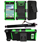 2-in-1 Bundle Combo SOGA® Black On Neon Green Hybrid Dual Layer Combat Heavy Duty Armor Case Cover With Belt Clip Holster Kickstand For LG Optimus Showtime L86C / L86G with SogaWireless Stylus Pen [SWA33]