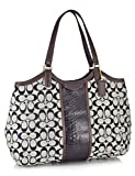 Coach F31444 SIS Signature SnakeShoulders Bag, White/Black, One Size