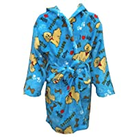 Puppy I Love Dog Bone Blue Fuzzy Furry Super Soft with 2 Pockets and Belt Robe
