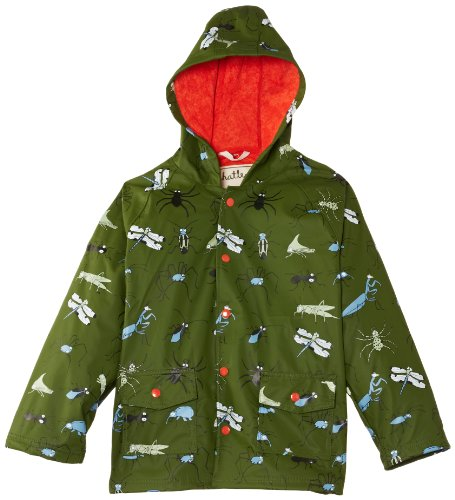 Hatley Little Boys' Little Boys' Raincoat Fun Bugs, Green, 4T front-940046
