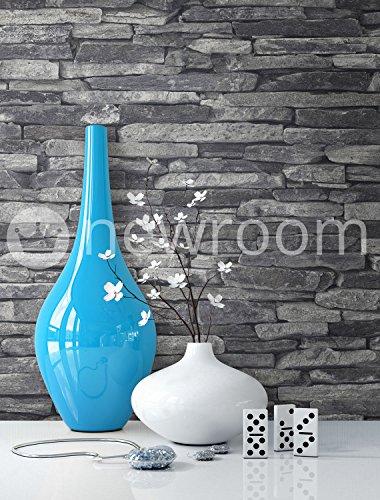 Preisvergleich steintapete vlies grau schwarz sch ne for Steintapete schwarz