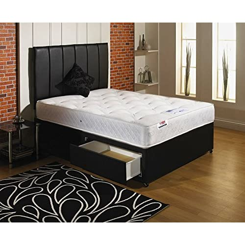 Ortho Divan bed with mattress and headboard and 2 drawers - Double (4'6)