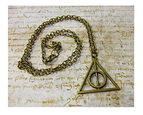 DP DESIGN® COLLANA CIONDOLO TRIANGOLO DEATHLY HALLOWS DONI DELLA MORTE BRONZO