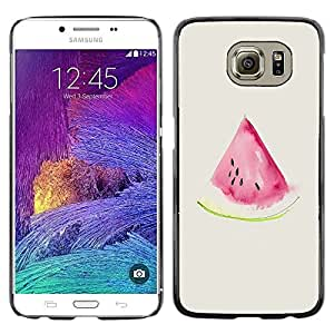 Omega Covers - Snap on Hard Back Case Cover Shell FOR Samsung Galaxy S6 - Watercolor Watermelon Beige Pink Fruit