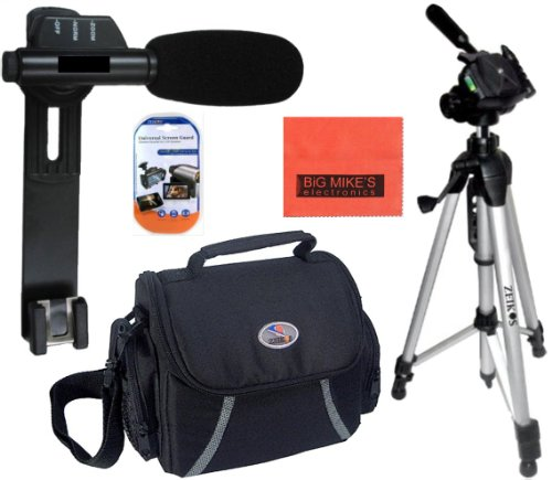 Accessory Package For Canon Vixia Hfg10 Hg20 Hg21 Hfr10 Hfr20 Hfr21 Hfr100 Hfr200 Hf11 Hf20 Hf200 - Includes Mini Zoom Directional Shotgun Microphone + Soft Medium Camcorder Case + 57 Inch Tripod For + Mini Hdmi-Hdmi Cable More!!