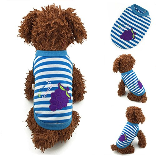 Blue Striped Grape Design Cotton Dog or Puppy Sweater