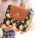【 Ribon Box 】 かわいい 小花柄 ガーリー お財布 二つ折り コインケース レディース (黒)