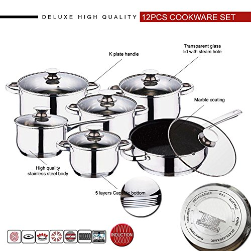12pc-cookware-set-deluxe-quality-stainless-steel-casserole-stock-pot-saucepan-fry-pan-with-marble-co