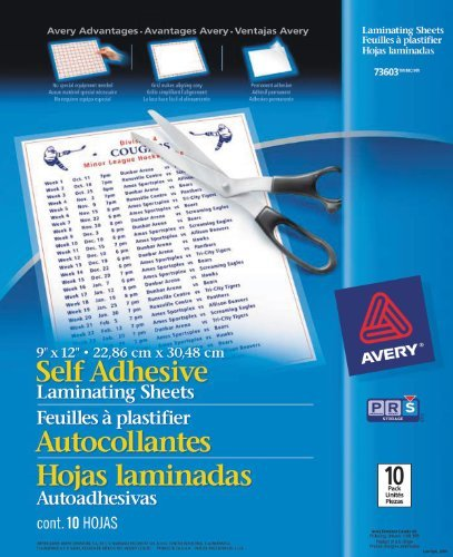 Avery Self-Adhesive Laminating Sheets, 9 X 12, Pack Of 10 (73603) Portable Consumer Electronics Home Gadget