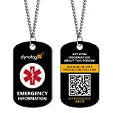 Dynotag Web/GPS Enabled QR Smart Military Style Medical/Emergency Info Deluxe Steel Pendant and Chain