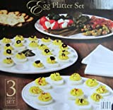 Classic Ceramic Egg Platter Set - 3pc, White