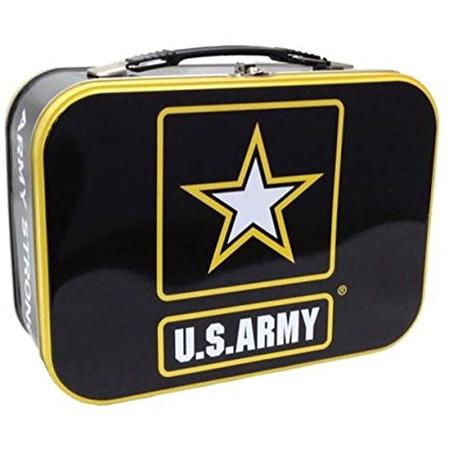 10-Inch U.S. Army Star Tin Tote Decorated in Black and Yellow