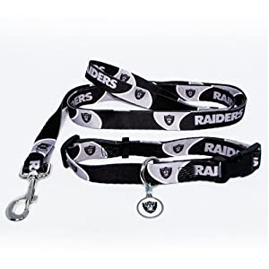 Oakland Raiders Dog Pet Set Leash Collar ID Tag XS