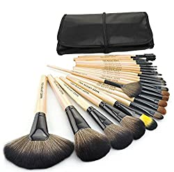 Cosmetic Makeup Brush Set - 24 Piece with Black Leather Case