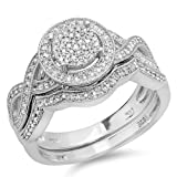 0.55 Carat (ctw) Sterling Silver Round White Diamond Womens Micro Pave Engagement Ring Set 1/2 CT (Size 7.5)