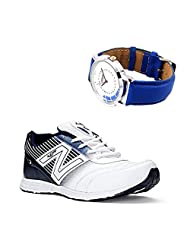 Lancer Adelaide White & Nblue Stylish Sport Shoes With Lotto Blue Watch For Men's