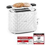 Klarstein Granada Rossa Design 2-Schlitz-Toaster 2 Scheiben Toaster mit Brötchenaufsatz (1000 W, Krümelauffänger, Auftau- und Aufwärm-Funktion, Karo-Diamant-Oktik) weiß
