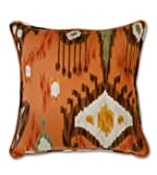 Decorative Ikat Throw Pillow for Sofa Couch Custom Made in USA 18 Inch with Insert Cinnamon