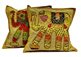 2 Light Brown Base Applique Handcrafted Patchwork Ethnic Elephant Throws Pillow Cases Cushion Covers