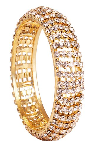 Beautiful Gold Kada With White Stones (2*4)