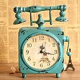 アンティーク調  目覚まし時計風 電話機 モチーフ オシャレな アイアン製 置時計 ブルー × エッフェル塔