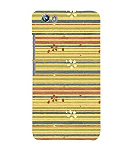 Lines Pattern with Flowers 3D Hard Polycarbonate Designer Back Case Cover for Micromax Canvas Fire 4 A107