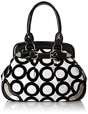 MG Collection Lazuli and Chic Mod Circle Bowler Satchel, Black, One Size