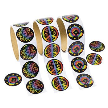 Rolls of Rainbow Stickers - 100 Stickers Per Roll