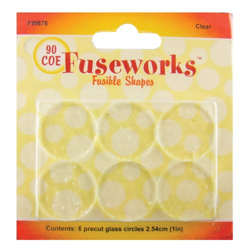 Fuseworks Fusible Glass Shapes, 1-Inch Round Disks, Clear, 6-Pack front-131966