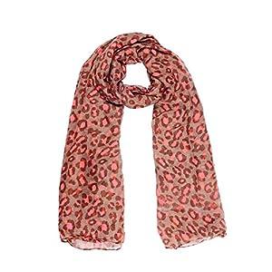 8Years Damen Modisch Leopard Art Voile Schal Herbstschal Winterschal Wickelschal Tuch Stola in braun dunkelkaffee Fluoreszenz Red 180x110cm