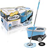 MopRite Spin Mop-Deluxe Stainless Steel Spin Mop And Bucket System With Wheels, Dual Function System For Spin Washing And Drying-Includes 2 Microfiber Mop Heads & Scrub Brush