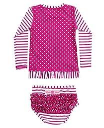 RuffleButts Infant / Toddler Girls Berry Striped Polka LS Rash Guard Bikini - Purple - 18-24m