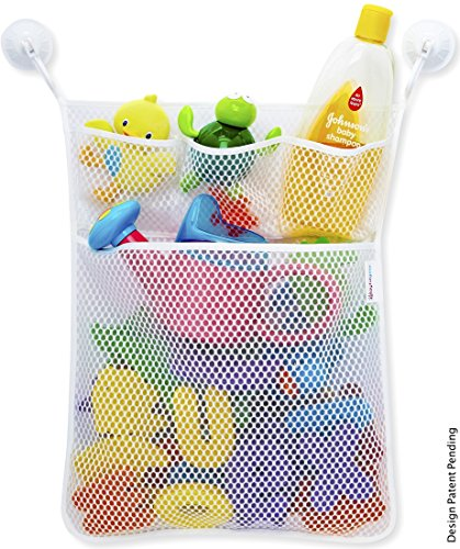 Versatile Organizer for Bath Toys, Diapers, Undies, Toys and More! Includes 2 Super Strong Suction Hooks - 1