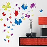 Wall Decals Rainbow of Butterflies - Easy Peel & Stick Wall Art Decor - Baby/ Kids Nursery Room Decorative Stickers