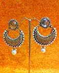 Earrings - Beautiful Elegant White Pearl Polki with Elegant White Stone, Pearls & Diamentes by ADIVA abchiobheo24