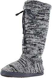 Mukluks Basic Rib Tall Tie Sweater Boots Slippers Gray Size Large