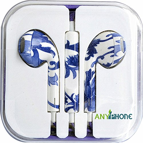 Anyphone Colorful Luxury Headset Headphone Earphone Volume Remote+Mic For Iphone4 5 Ipad3 4 Ipod (11.Blue&White)