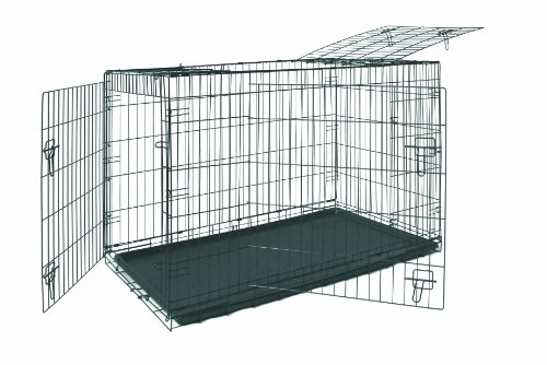 Allmax 3-Door Folding Metal Dog Crate With Abs Tray, Medium, Black front-42382