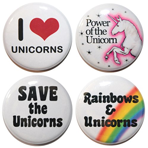 "Set da 4 pezzi, I LOVE UNICORNS BUTTON badge (25 mm/(1"") 2,54 cm, MADE IN UK, motivo a bottone, ZOMBIE"
