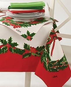 Vera neumann christmas wreath tablecloths for 120 table runner christmas