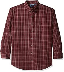 Arrow Men's Big and Tall Long Sleeve Plaid Hamilton Shirt, Chocolate Truffle, 3X